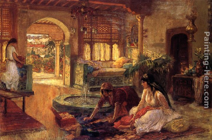 Orientalist Interior Painting   Frederick Arthur Bridgman Orientalist  Interior Art Painting