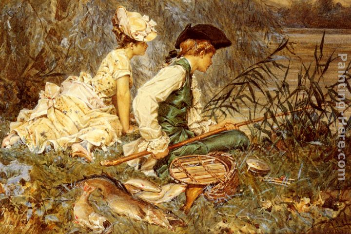 An Afternoon Of Fishing painting - Frederick Hendrik Kaemmerer An Afternoon Of Fishing art painting