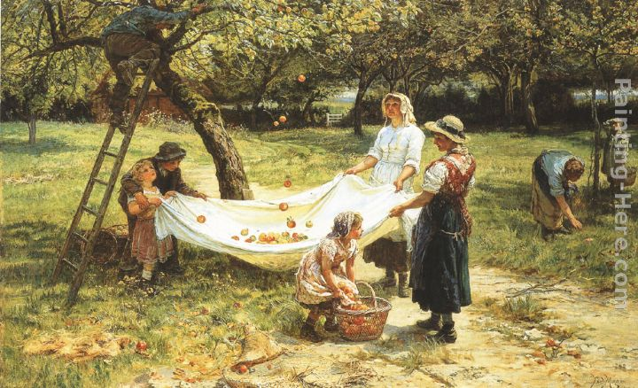 An Apple-gathering painting - Frederick Morgan An Apple-gathering art painting