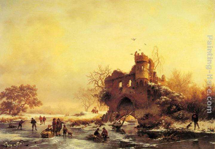 Winter Landscape with Skaters on a Frozen River beside Castle Ruins painting - Frederik Marianus Kruseman Winter Landscape with Skaters on a Frozen River beside Castle Ruins art painting