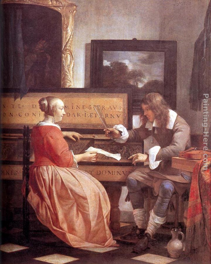 Man and Woman Sitting at the Virginal painting - Gabriel Metsu Man and Woman Sitting at the Virginal art painting