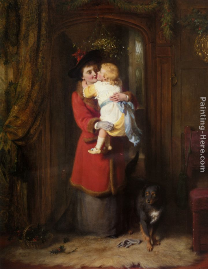 A Christmas Kiss painting - George Bernard O'Neill A Christmas Kiss art painting