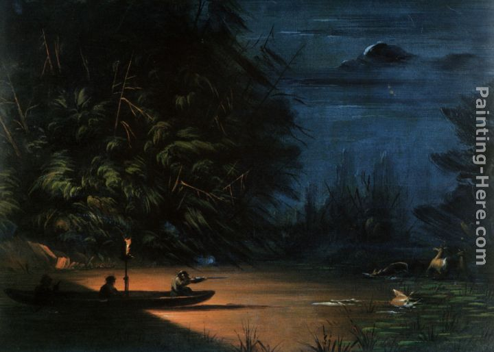 Night Scene of Deer Shooting painting - George Catlin Night Scene of Deer Shooting art painting
