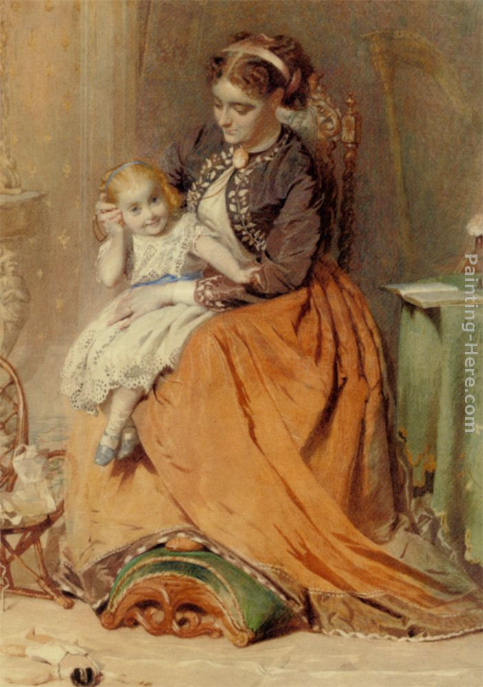 A girl listening to the ticking of a pocket watch while sitting on her mothers lap