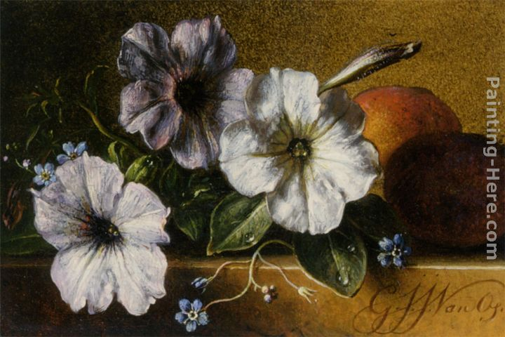 A Still Life with Flowers and Fruit painting - George Jacobus Johannes Van A Still Life with Flowers and Fruit art painting