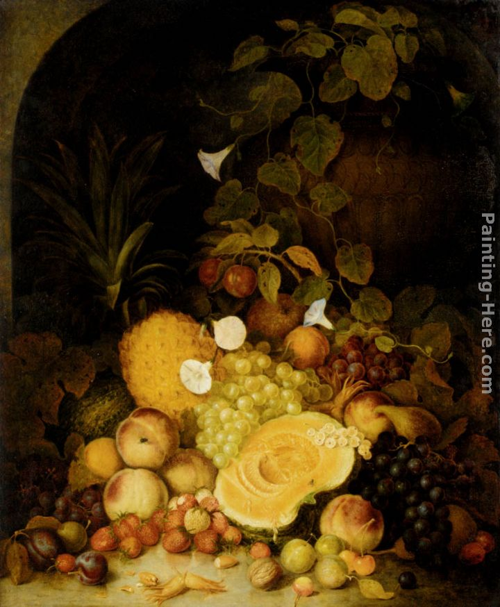 Still Life With Peaches, Plums, Strawberries And Tropical Fruits In An Architectural Miche painting - George Lance Still Life With Peaches, Plums, Strawberries And Tropical Fruits In An Architectural Miche art painting
