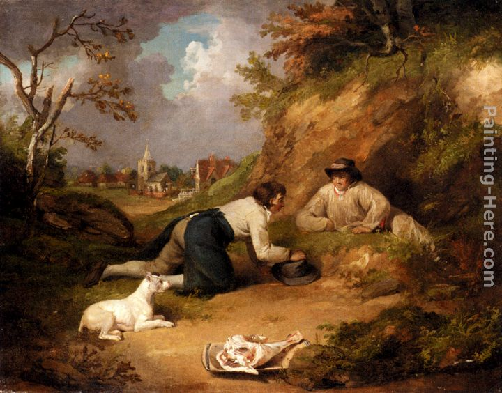 Two Men Hunting Rabbits With Their Dog, A Village Beyond painting - George Morland Two Men Hunting Rabbits With Their Dog, A Village Beyond art painting