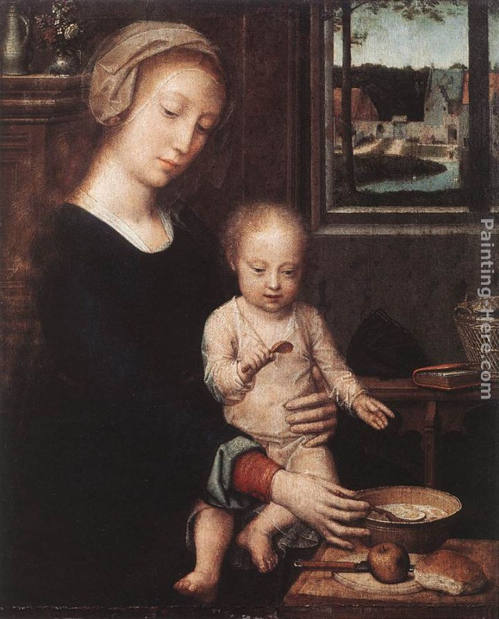 Madonna and Child with the Milk Soup painting - Gerard David Madonna and Child with the Milk Soup art painting