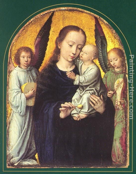 Mary and Child with two Angels Making Music painting - Gerard David Mary and Child with two Angels Making Music art painting