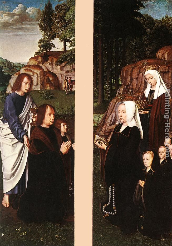 Gerard David Triptych of Jean Des Trompes (side panels) Art Painting