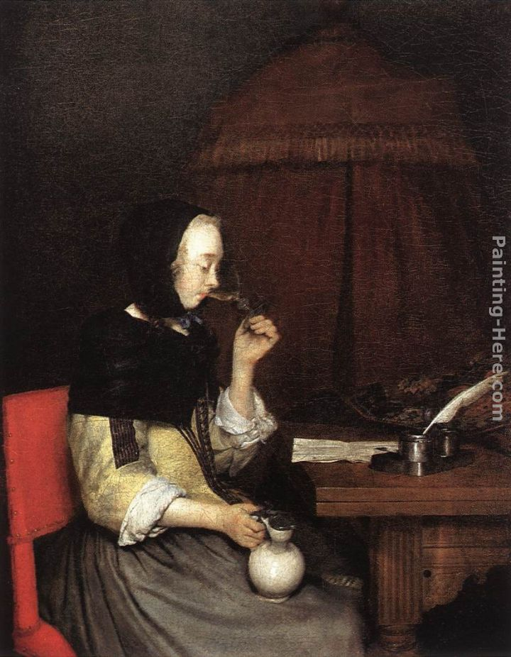 Gerard ter borch a woman drinking wine painting anysize 50 for Painting while drinking wine