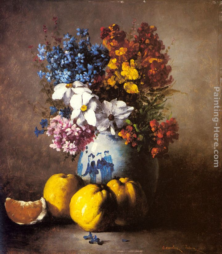 A Still Life with a Vase of Flowers and Fruit painting - Germain Theodure Clement Ribot A Still Life with a Vase of Flowers and Fruit art painting