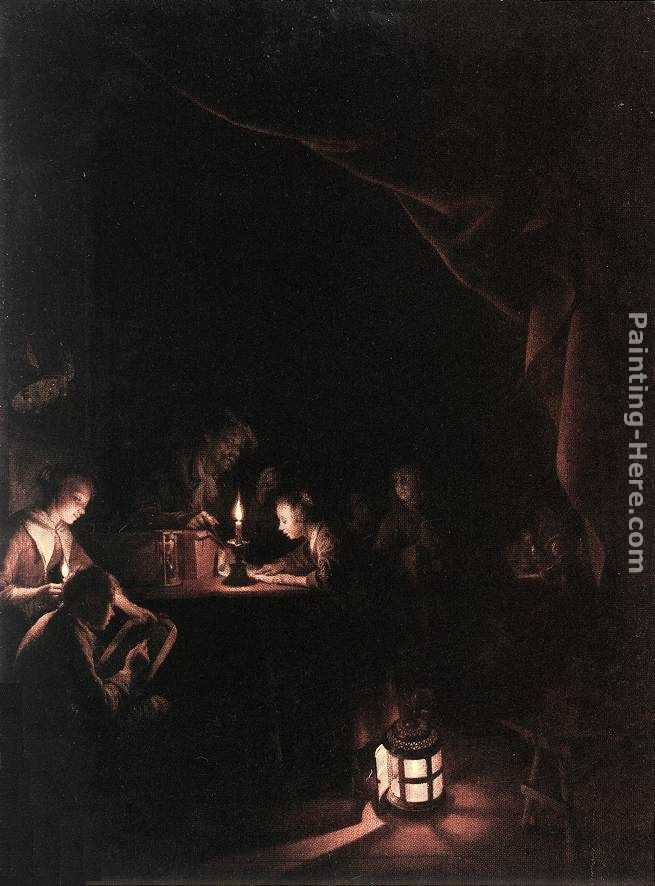Gerrit Dou The Evening School Art Painting