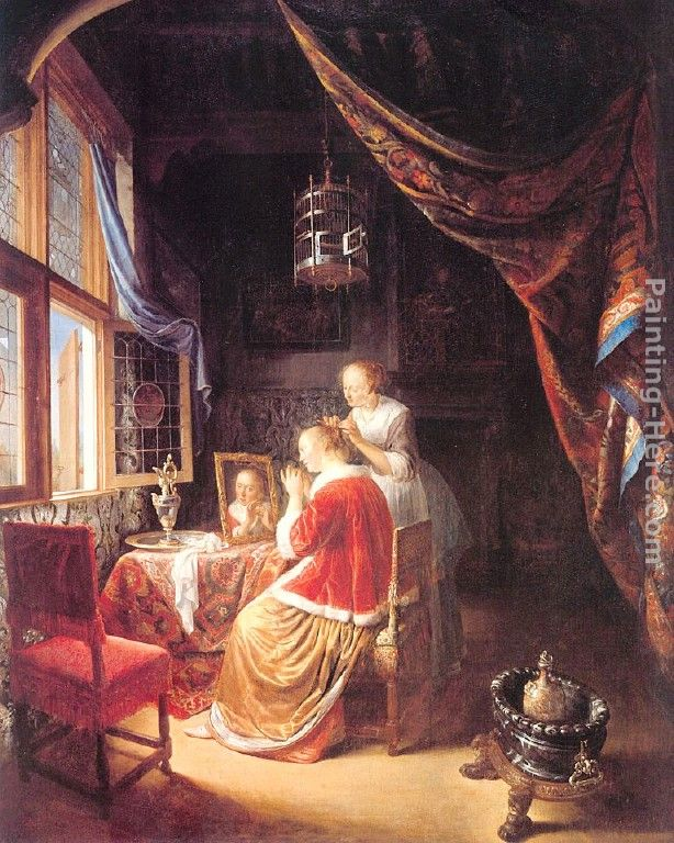 The Lady At Her Dressing Table Painting Gerrit Dou