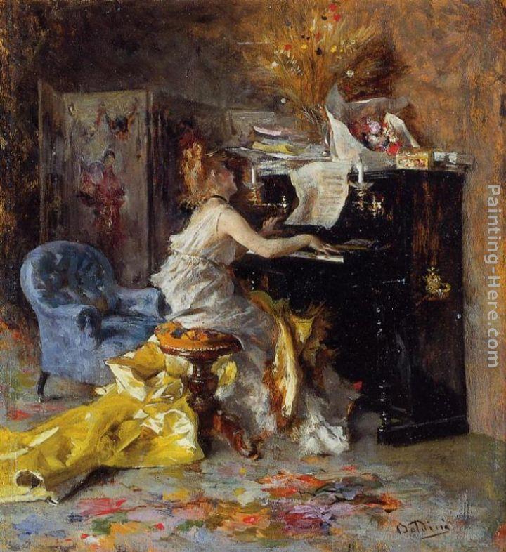 Woman At A Piano Painting