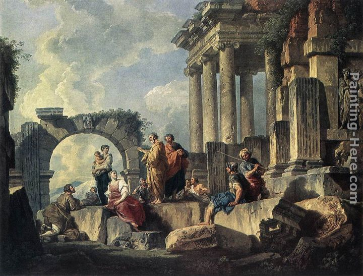 Apostle Paul Preaching on the Ruins painting - Giovanni Paolo Pannini Apostle Paul Preaching on the Ruins art painting