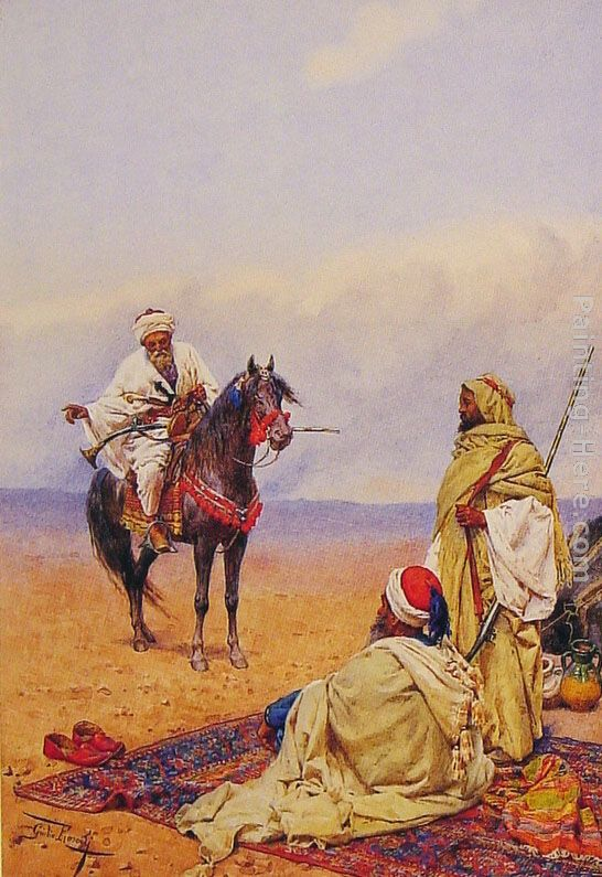 Giulio Rosati A Horseman Stopping at a Bedouin Camp Art Painting