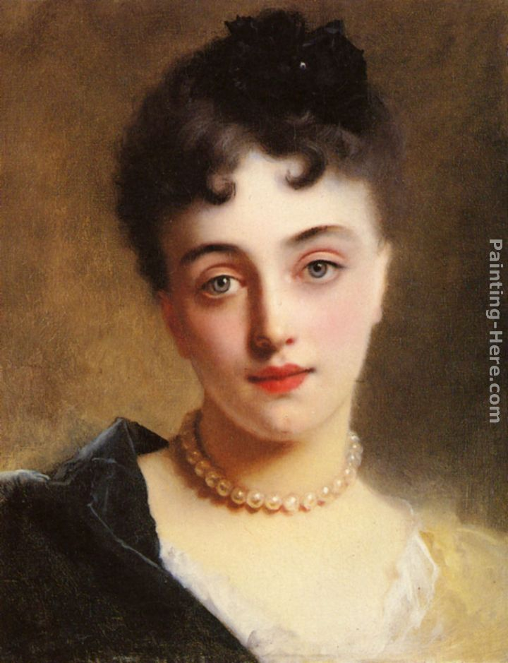 An Elegant Lady with Pearls painting - Gustave Jean Jacquet An Elegant Lady with Pearls art painting