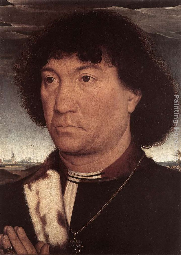 Portrait of a Man at Prayer before a Landscape painting - Hans Memling Portrait of a Man at Prayer before a Landscape art painting