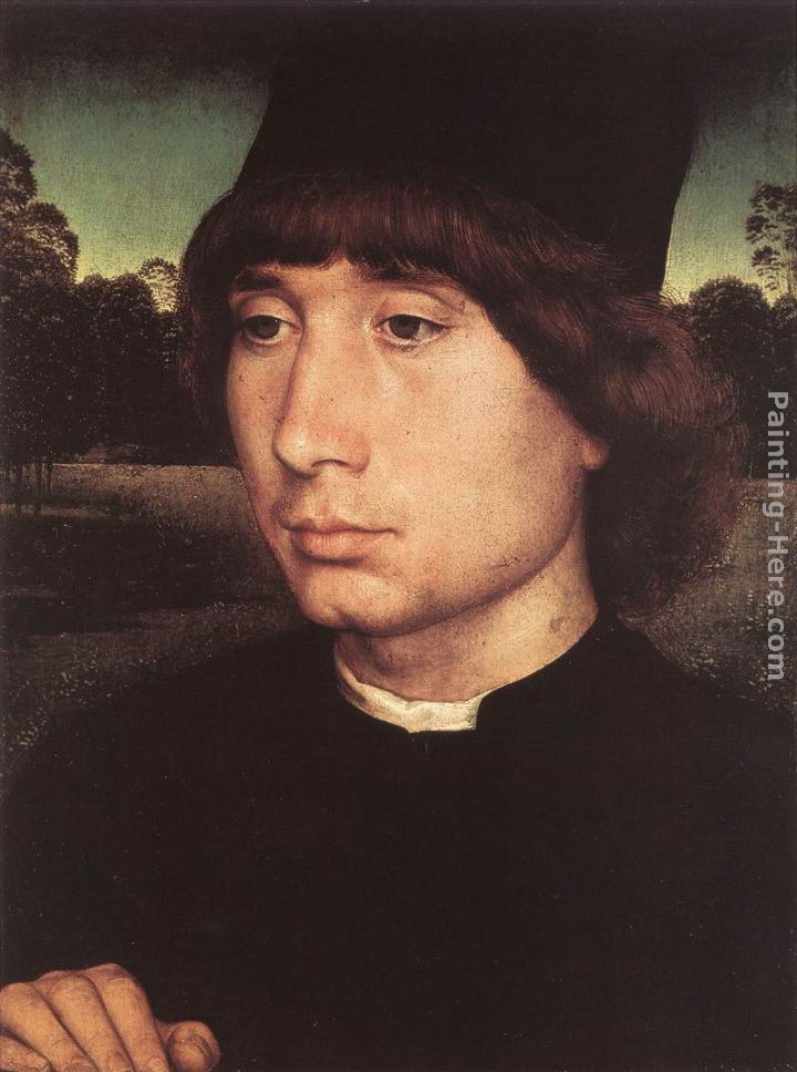 Portrait of a Young Man before a Landscape painting - Hans Memling Portrait of a Young Man before a Landscape art painting