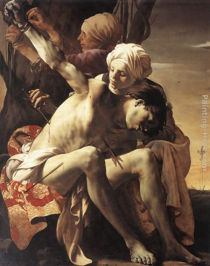 Hendrick Terbrugghen St Sebastian Tended by Irene and her Maid Art Painting