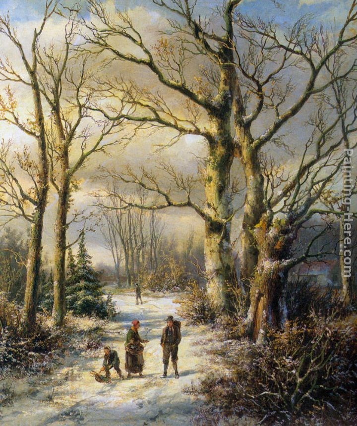 Woodgatherers in a Winter Forest painting - Hendrik Barend Koekkoek Woodgatherers in a Winter Forest art painting
