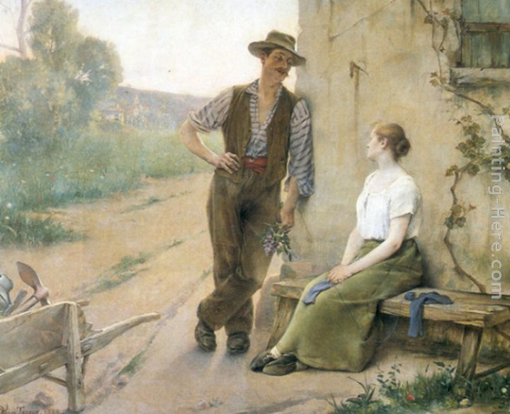 Peasant Couple in Farmyard painting - Henri Adriene Tanoux Peasant Couple in Farmyard art painting