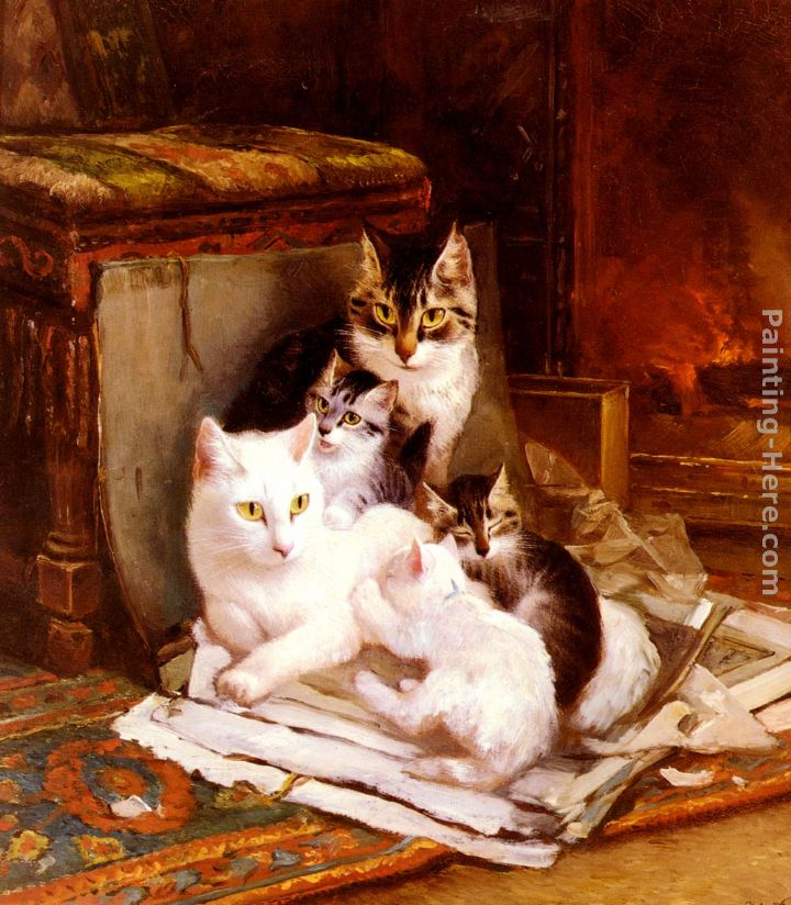 The Happy Litter painting - Henriette Ronner-Knip The Happy Litter art painting