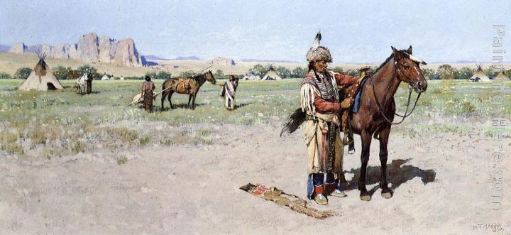 Saddling Up painting - Henry Farny Saddling Up art painting