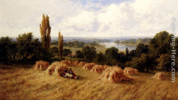 Henry Hillier Parker A Corn Field, Chertsey-On-Thames, Surrey Art Painting