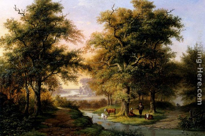 A Mountainous Woodland With The Kurhaus, Cleves, In The Distance painting - Hermanus Everhardus Rademaker A Mountainous Woodland With The Kurhaus, Cleves, In The Distance art painting