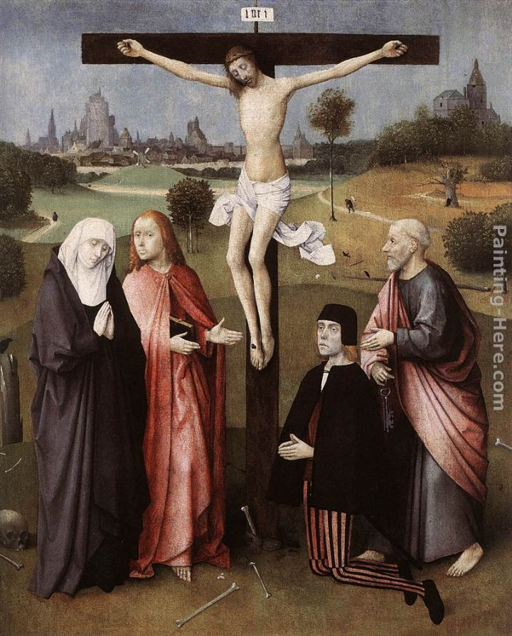 Hieronymus Bosch Crucifixion with a Donor Art Painting