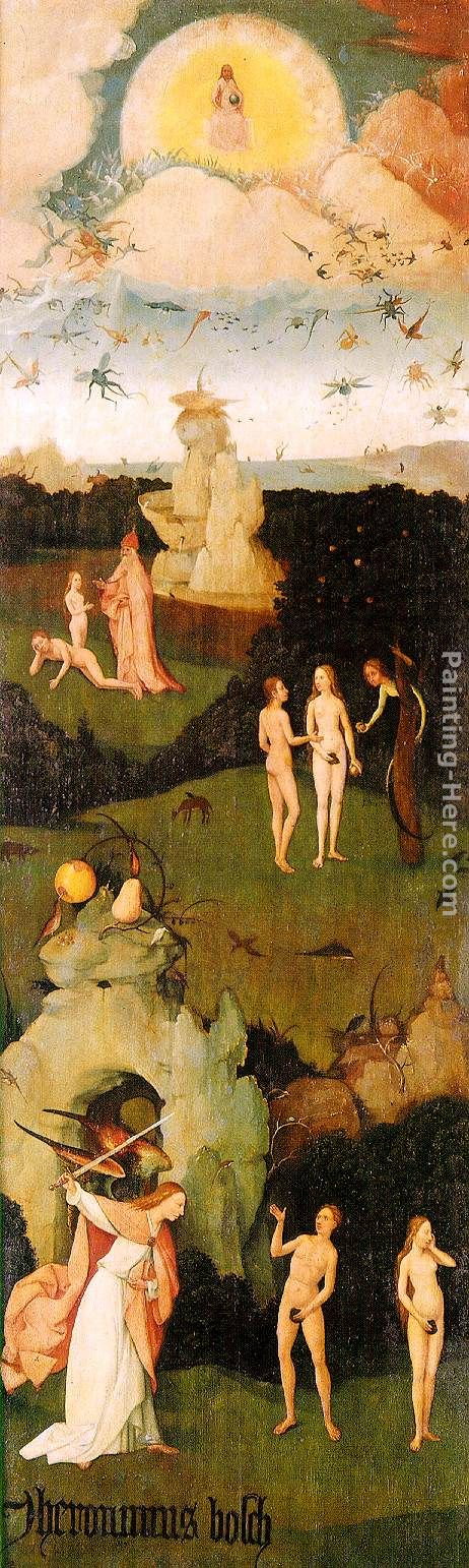 Haywain, left wing of the triptych painting - Hieronymus Bosch Haywain, left wing of the triptych art painting