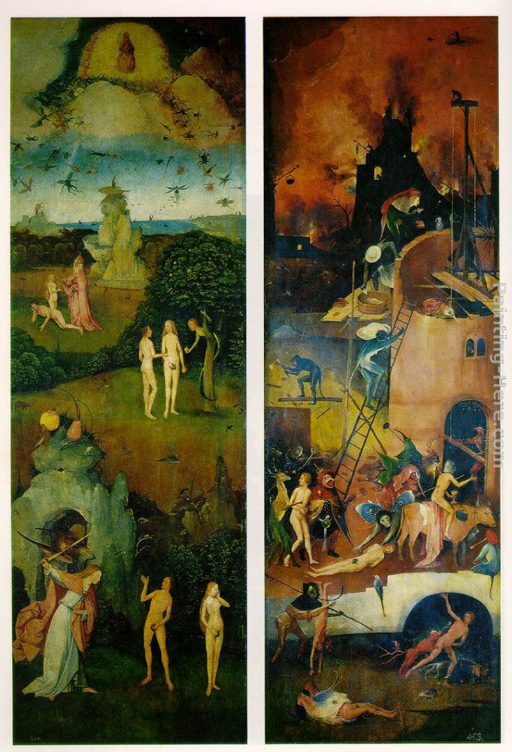 Hieronymus Bosch Paradise and Hell, left and right panels of a triptych Art Painting