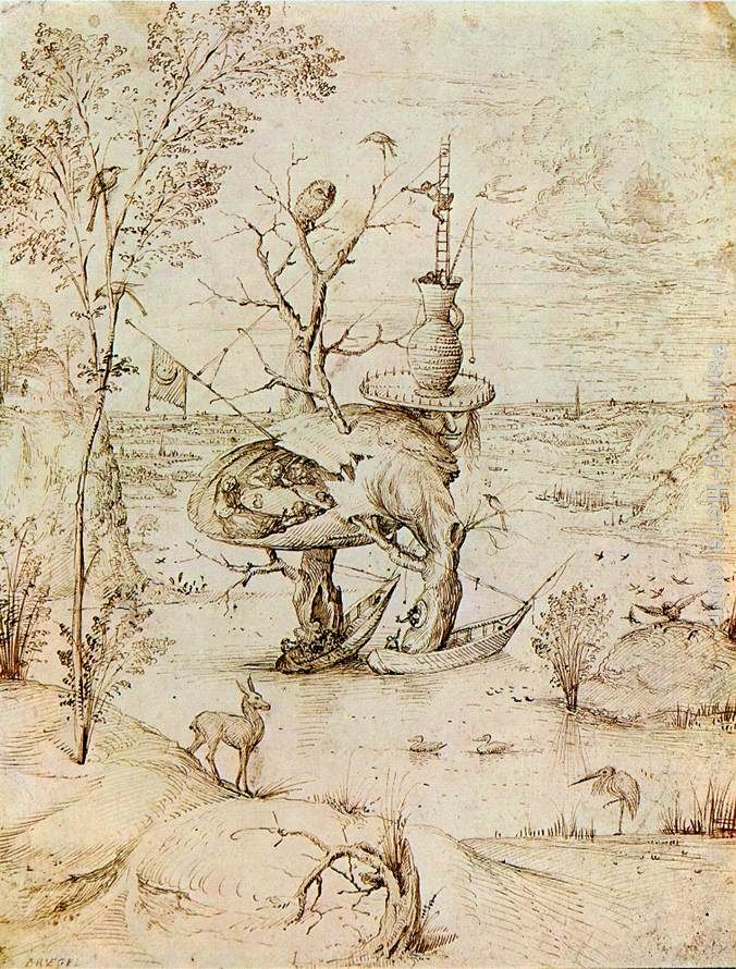 The Man-Tree painting - Hieronymus Bosch The Man-Tree art painting