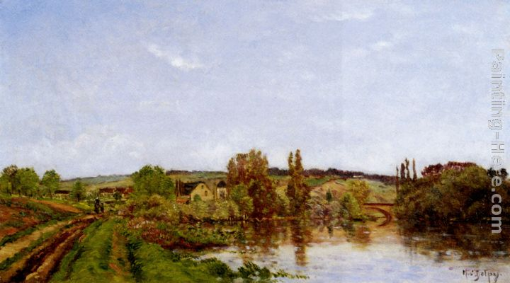 Hippolyte Camille Delpy Walking Along The River Art Painting