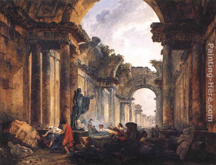 Imaginary View of the Grande Galerie in the Louvre in Ruins painting - Hubert Robert Imaginary View of the Grande Galerie in the Louvre in Ruins art painting