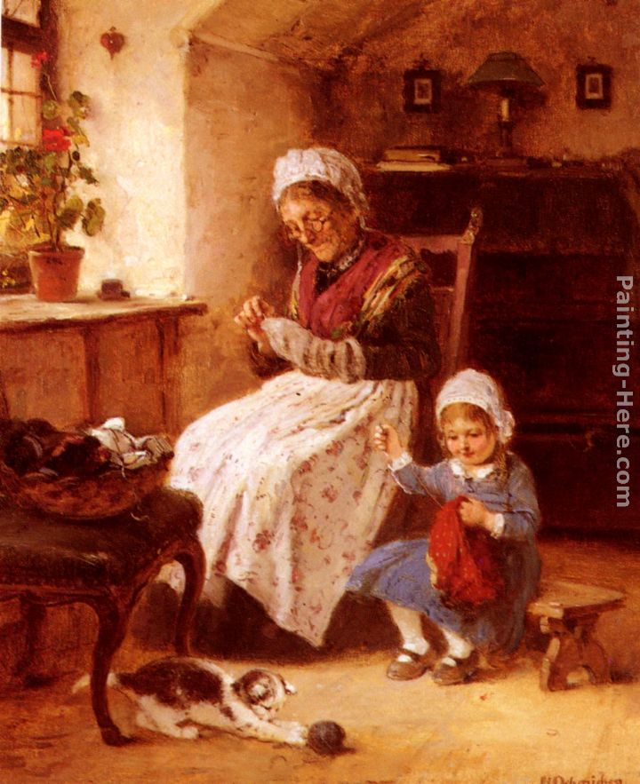The Sewing Lesson painting - Hugo Oehmichen The Sewing Lesson art painting