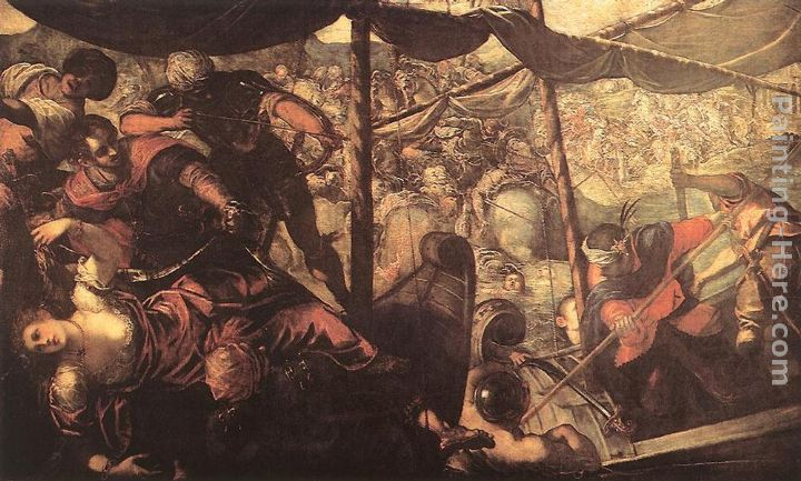 Battle between Turks and Christians painting - Jacopo Robusti Tintoretto Battle between Turks and Christians art painting