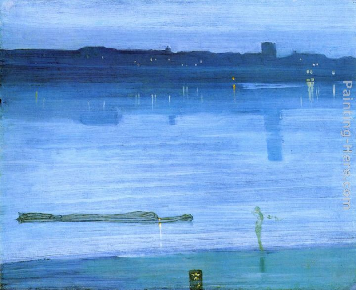 Nocturne Blue and Silver - Chelsea painting - James Abbott McNeill Whistler Nocturne Blue and Silver - Chelsea art painting