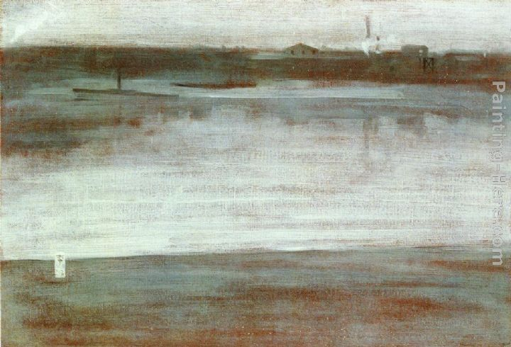 Symphony in Grey Early Morning, Thames painting - James Abbott McNeill  Whistler Symphony in Grey