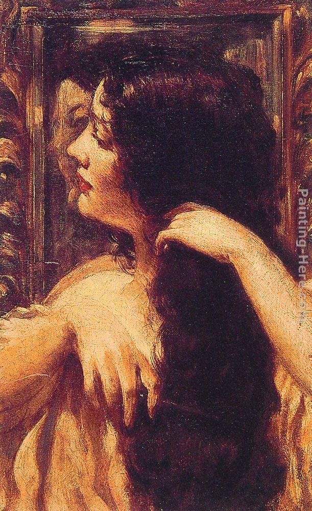 James Carroll Beckwith Brunette Combing Her Hair Art Painting
