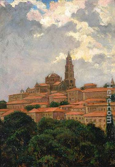 Cathedral at le Puy painting - James Carroll Beckwith Cathedral at le Puy art painting