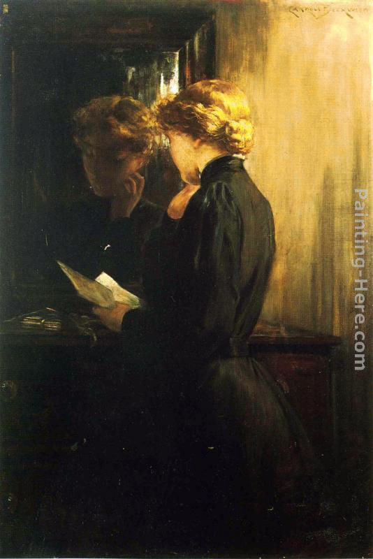 James Carroll Beckwith The Letter Art Painting