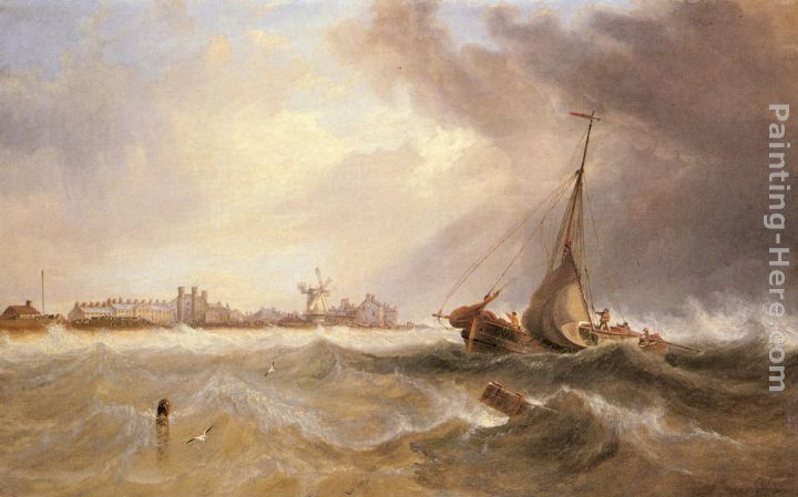 Shipping off a Coast in Choppy Seas painting - James Wilson Carmichael Shipping off a Coast in Choppy Seas art painting