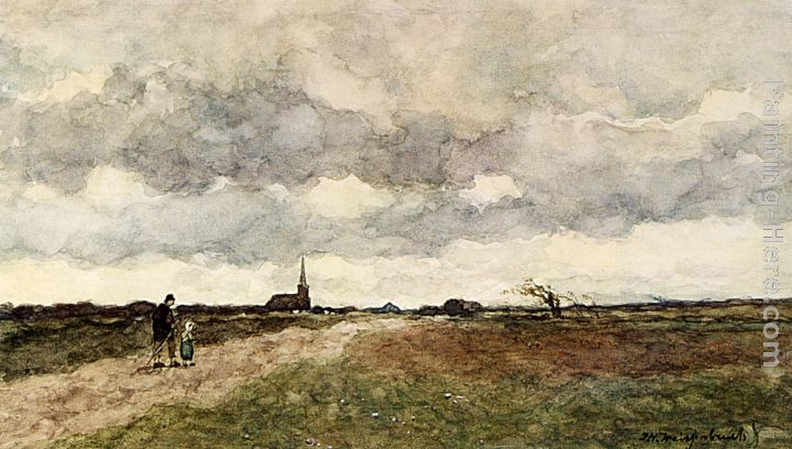 Figures On A Country Road Church In The Distance Painting