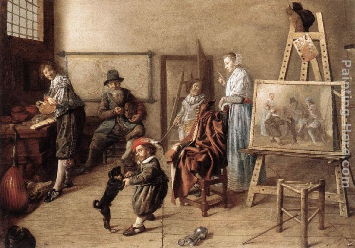 Painter in His Studio, Painting a Musical Company painting - Jan Miense Molenaer Painter in His Studio, Painting a Musical Company art painting