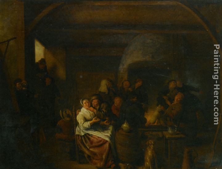 Jan Miense Molenaer The Interior of a Tavern with Peasants Cavorting and Drinking Art Painting
