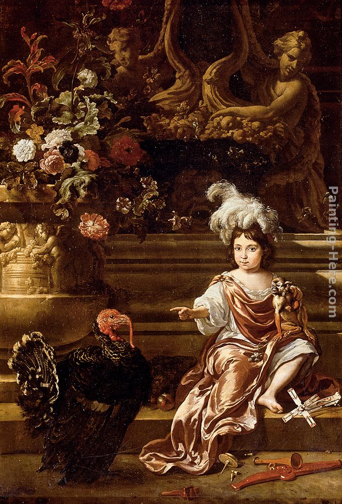 A Boy Seated On A Terrace With His Pet Monkey And a Turkey, A Still Life Of Flowers In A Sculpted Urn At Left painting - Jan Weenix A Boy Seated On A Terrace With His Pet Monkey And a Turkey, A Still Life Of Flowers In A Sculpted Urn At Left art painting