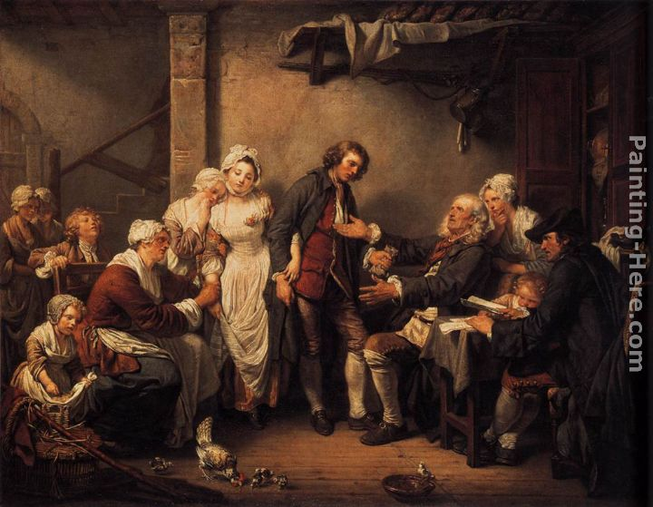 L'Accordée de Village painting - Jean Baptiste Greuze L'Accordée de Village art painting